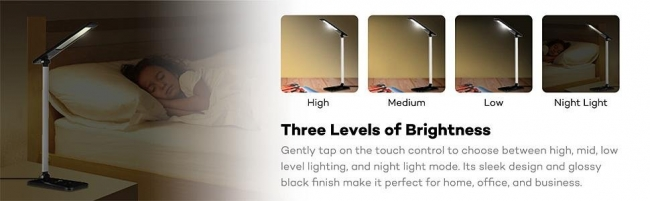 Dimmable LED Desk Lamp (Flexible Arm, 3-Level Dimmer Cool White Light, Touch-Sensitive Controller, Glossy Black, 6W)