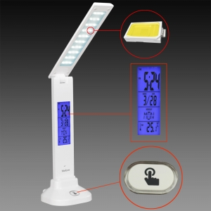 Touch LED Table Lamp with Clock, rechargeable LED table lamp