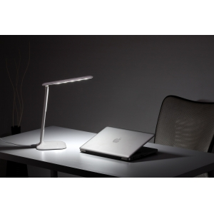 LED table lamp with alarm clock, LED desk lamp with clock display, Folding Dimmable LED Desk/Office/Table Lamp,3-Mode, 5-Level Dimmer, Touch-Sensitive Control Panel - Piano White