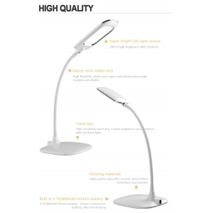 Plastic LED Desk Lamp,Goose Neck LED Table Light, LED Reading Light, Rechargeable LED Desk Light