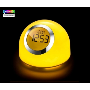 Color changing table lamp clock, dimmable LED table light