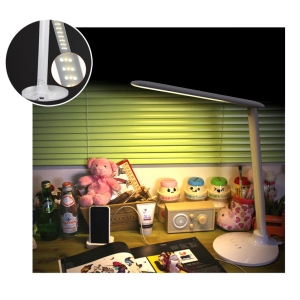 LED table lamp with touch dimmer and USB charge